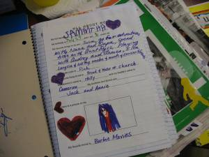 """The first page of the notebook - an """"about me"""" page."""